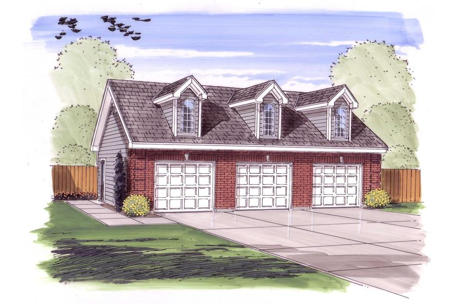 This is a colored rendering of these Garage Plans.