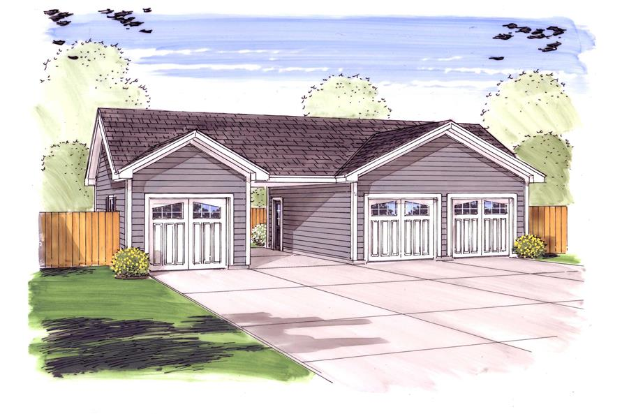 This is a colorful front elevation for these garage plans.