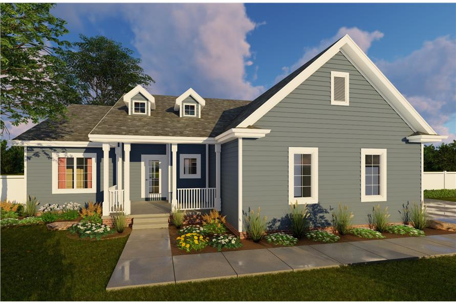 Color rendering of Country home plan (ThePlanCollection: House Plan #100-1102)