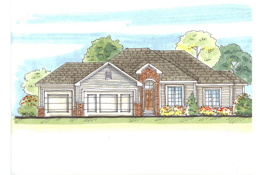 This is a color rendering of these European House Plans.