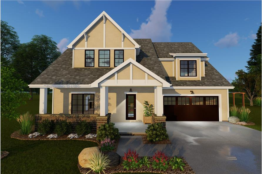 Front elevation of Country home (ThePlanCollection: House Plan #100-1136)
