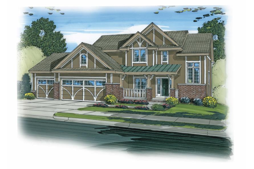 This is a colorful rendering of these Tudor Craftsman Homeplans.