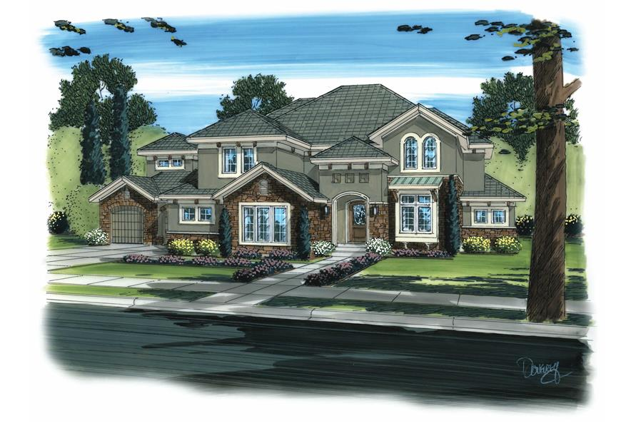 This is a colorful artist's rendering of these Tuscan Homeplans.