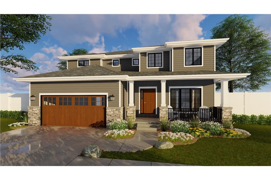 100-1193: Home Plan Rendering-Landscaping