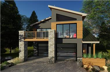 1-Bedroom, 758 Sq Ft Garage w/Apartments House - Plan #100-1355 - Front Exterior