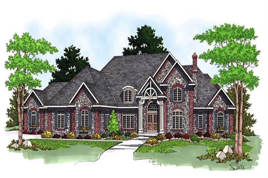 Luxury Homeplans AM-69301 color rendering.