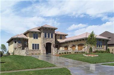 4-Bedroom, 3687 Sq Ft Luxury House Plan - 101-1353 - Front Exterior