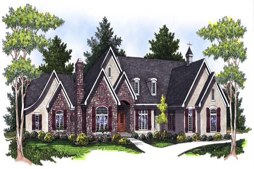 Traditional Home Plans color rendering for AM-93305.
