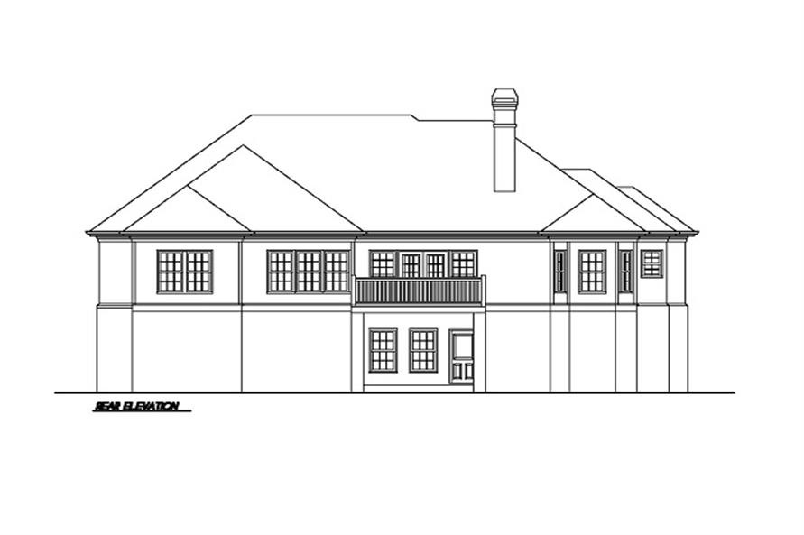 102-1002 house plan rear elevation