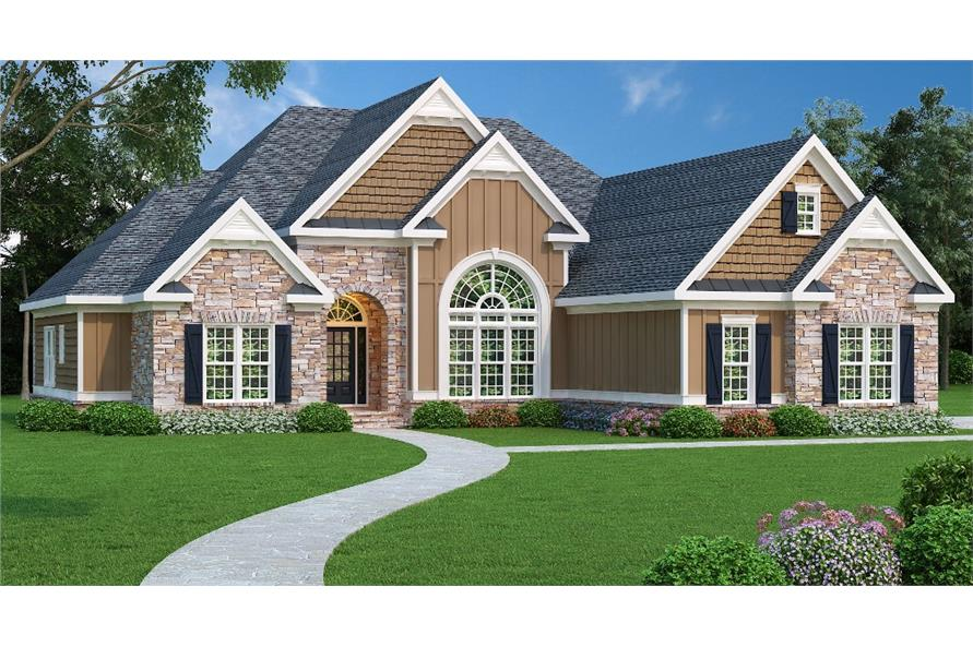Color rendering of Country home plan (ThePlanCollection: House Plan #104-1004)