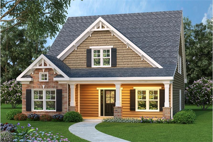 Color rendering of Bungalow home plan (ThePlanCollection: House Plan #104-1008)