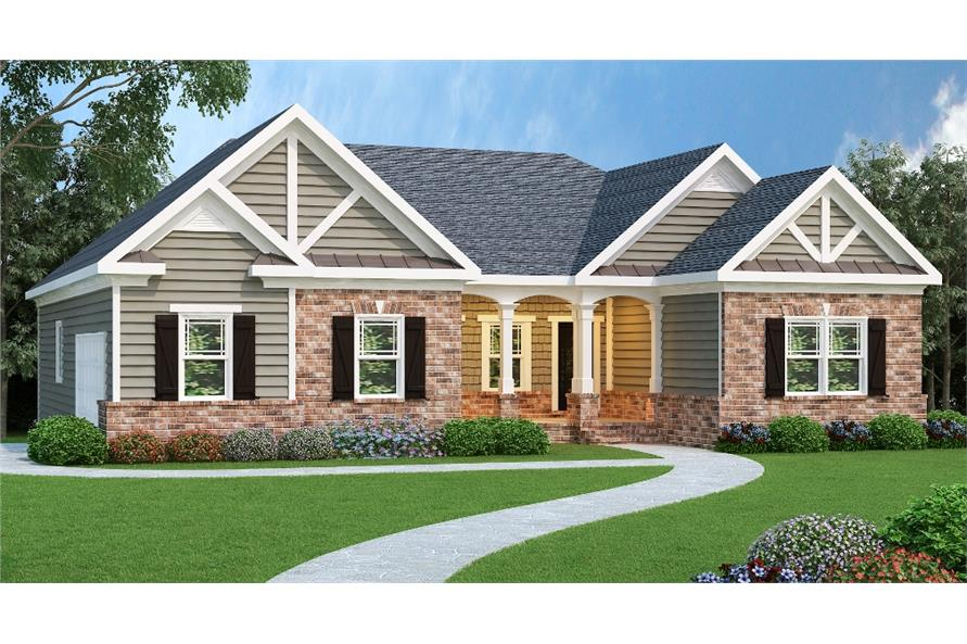 Color rendering of Ranch home plan (ThePlanCollection: House Plan #104-1028)