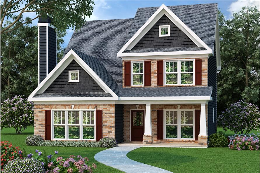 Main image for Bungalow style home plan (ThePlanCollection: House Plan #104-1032).