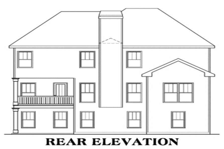 104-1038: Home Plan Rear Elevation
