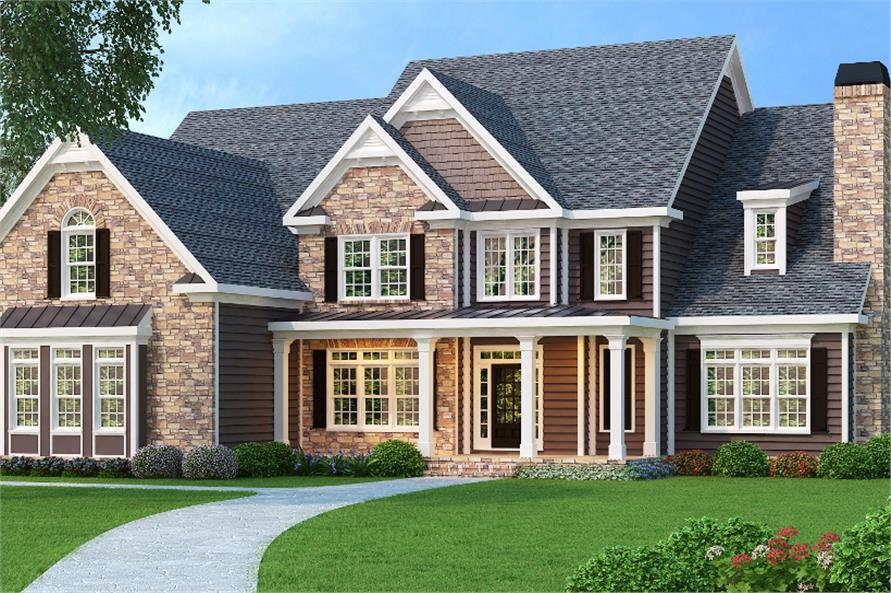 Color rendering of Luxury home plan (ThePlanCollection: House Plan #104-1067)
