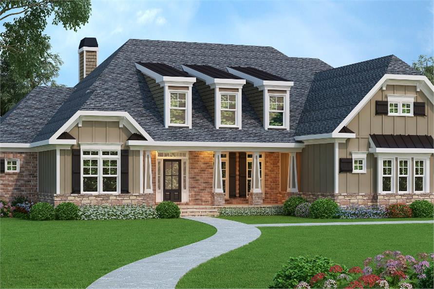 Color rendering of Luxury home plan (ThePlanCollection: House Plan #104-1070)