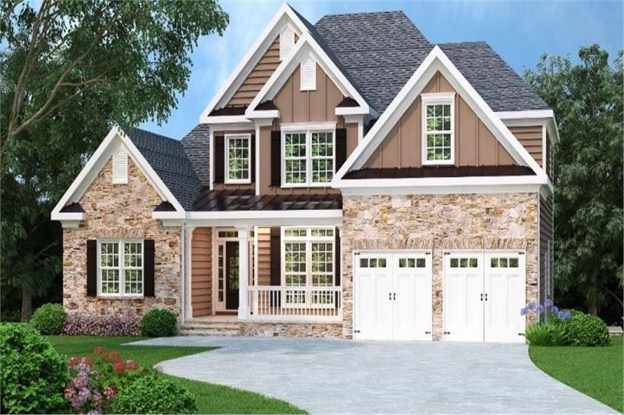 Front view of this traditional, craftsman home.
