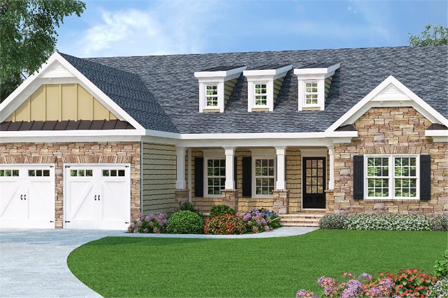 Color rendering of Country home plan(ThePlanCollection: House Plan #104-1089)