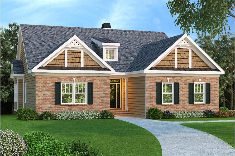 Color rendering of Country home plan (ThePlanCollection: House Plan #104-1093)