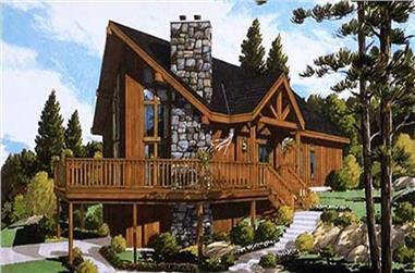 3-Bedroom, 1306 Sq Ft Log Cabin Home Plan - 105-1043 - Main Exterior