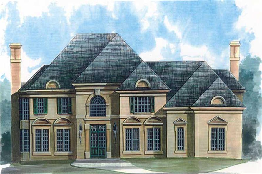 Front elevation of European home (ThePlanCollection: House Plan #106-1107)
