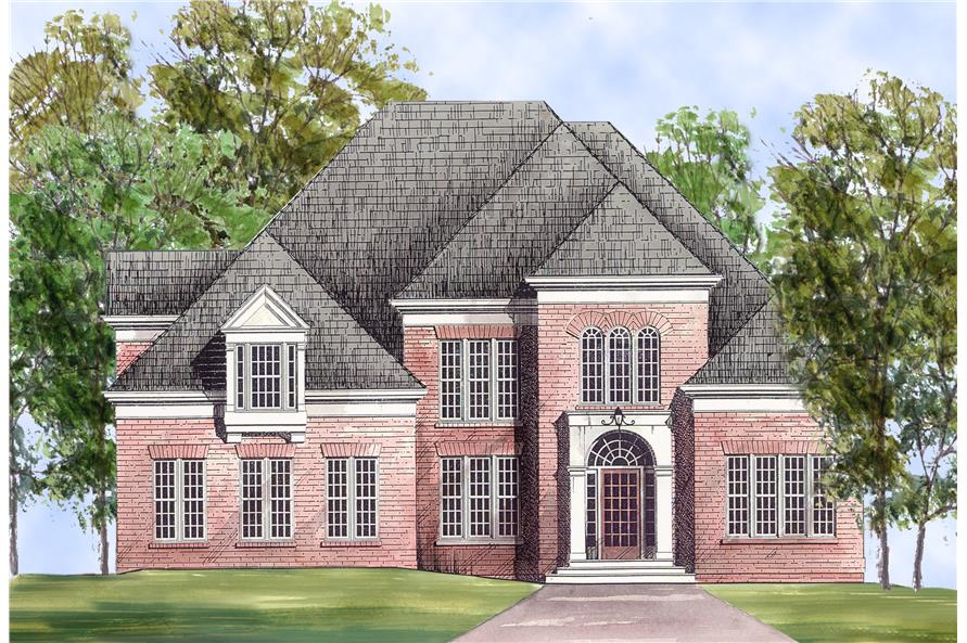 106-1163 house plan front endering