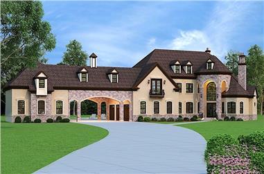 4-Bedroom, 3302 Sq Ft European House Plan - 106-1292 - Front Exterior