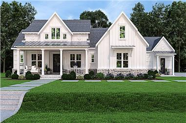 3-Bedroom, 2484 Sq Ft Transitional Farmhouse - Plan #106-1324 - Front Exterior