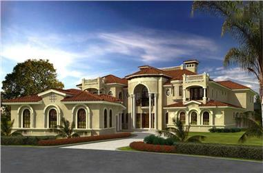 7-Bedroom, 11027 Sq Ft Luxury House Plan - 107-1024 - Front Exterior