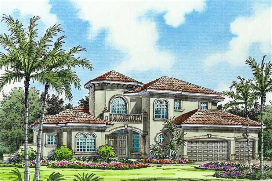 This image shows the mediterranean style of the home plan.