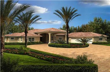 4-Bedroom, 3568 Sq Ft Mediterranean House Plan - 107-1145 - Front Exterior