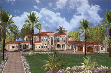 7-Bedroom, 15601 Sq Ft Florida Style House Plan - 107-1179 - Front Exterior