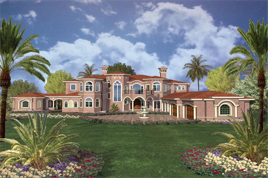 This image shows the mediterranean style as well as the luxury style of the home plan.