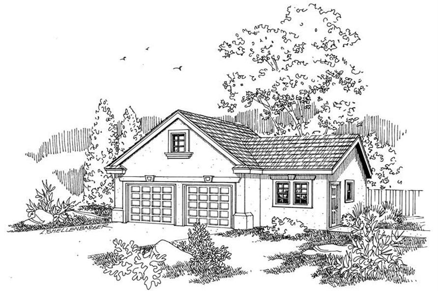 This image shows the garage style of the house plan.