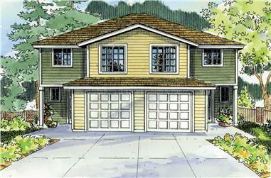 4-Bedroom, 1491 Sq Ft Multi-Unit Home Plan - 108-1047 - Main Exterior