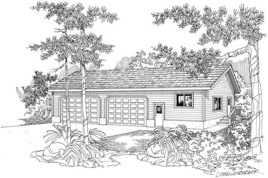 Front elevation of Garage w/Apartments home (ThePlanCollection: House Plan #108-1064)