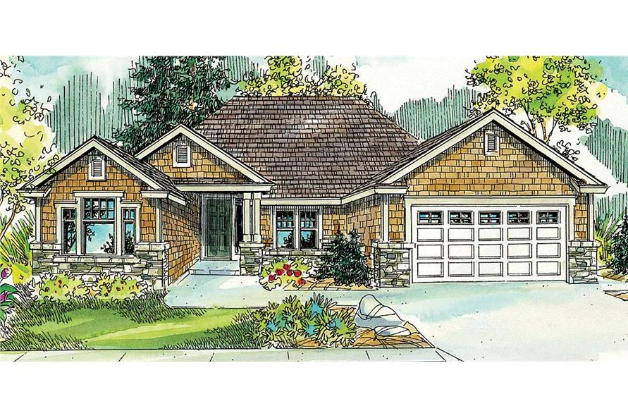 This image shows the front view of these Shingle House Plans.
