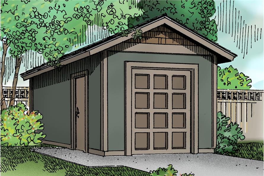 Color rendering of storage shed specialty Home Plan #108-1072.