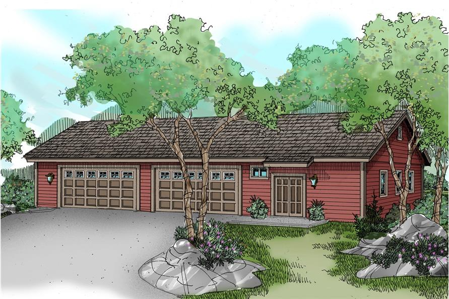 Color rendering of Garage Plan #108-1074.