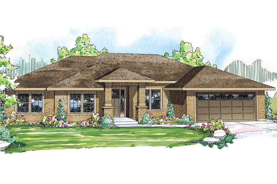This is the front elevation of these Traditional House Plans.