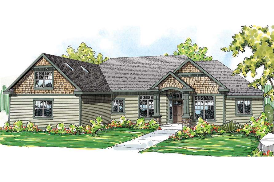 This is the front elevation of these Craftsman Home Plans.