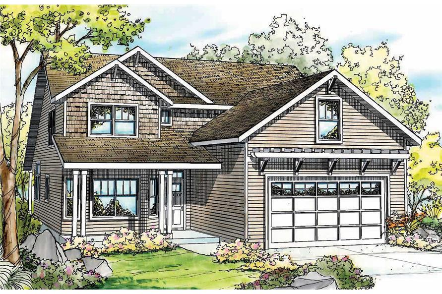 This is a colorful rendering of these Traditional Craftsman House Plans.