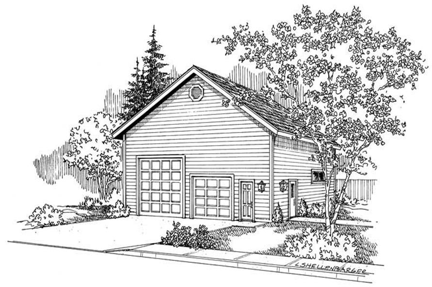 This image shows the garage style of the house plans/ garage plans.