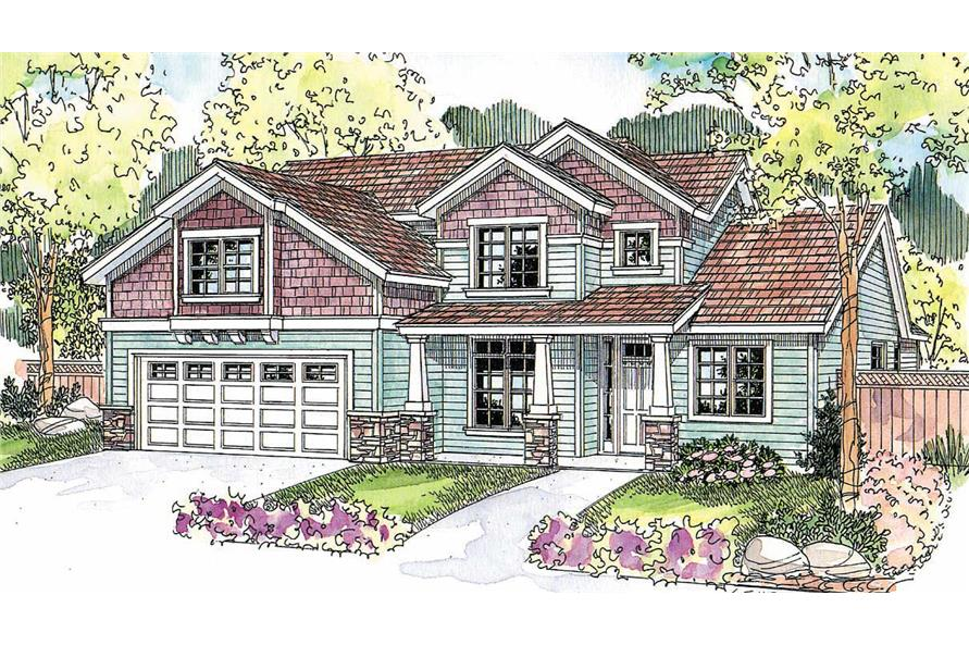 This image shows the Craftsman Style of the houseplans.