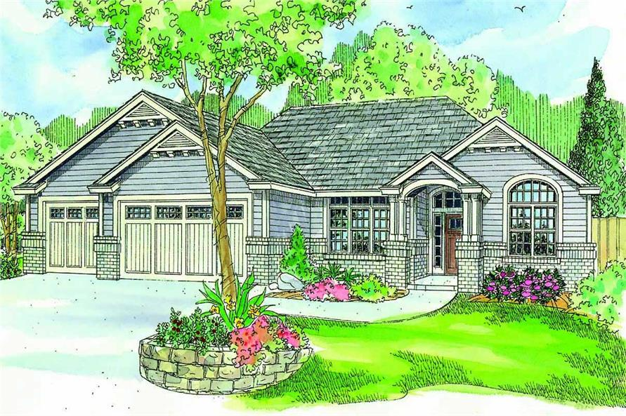 This is a colorful rendering of these Country Homeplans.