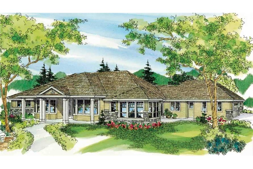 This is a colored rendering of these European Houseplans.