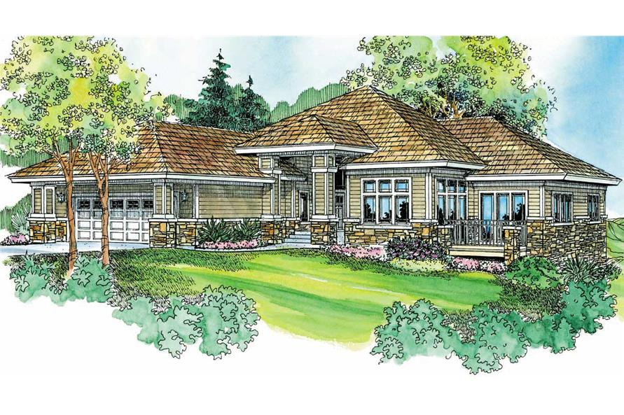 This image shows the Prairie Style for this set of house plans.