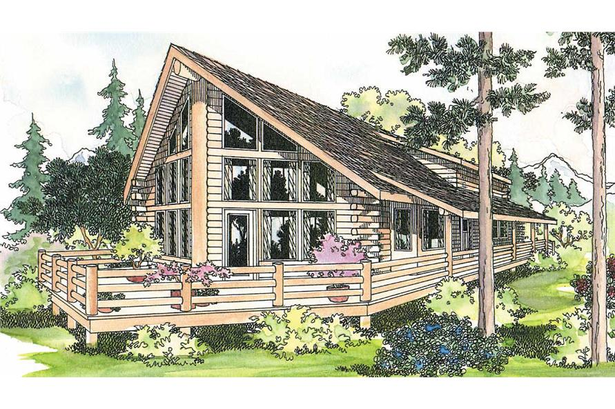 This image shows the front elevation for this set of Log house plans.