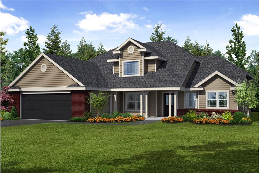 Color rendering of Country home plan (ThePlanCollection: House Plan #108-1234)