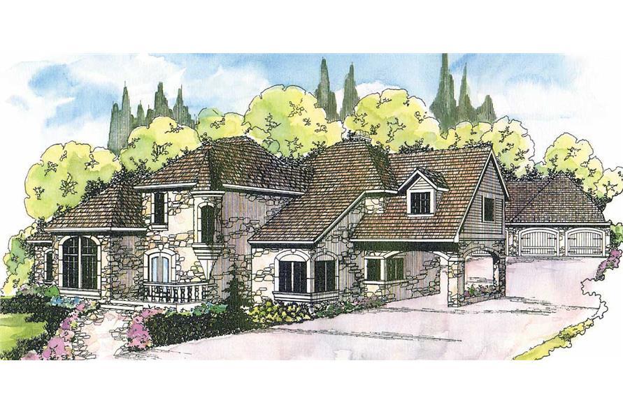 European House Plans color rendering.